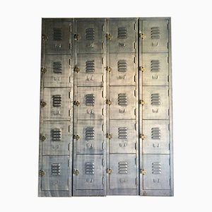 Vintage Industrial Metal Lockers in Brushed Steel, Set of 4