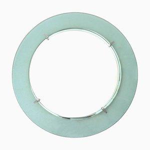 Runder italienischer Glas Spiegel von Cristal Art, 1960er
