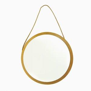 Specchio rotondo Mid-Century con cornice in quercia, anni '60