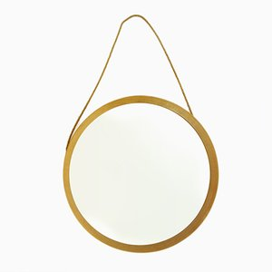 Swedish Mid-Century Round Oak Frame Mirror, 1960s