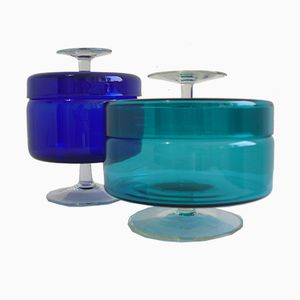 Vintage Turquoise & Blue Glass Jars, Set of 2