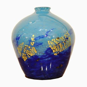 Art Deco Vase in Blue Multilayer Glass with Gold Inclusions from Daum