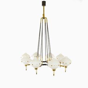 Lampadario in metallo, ottone e vetro, anni '50