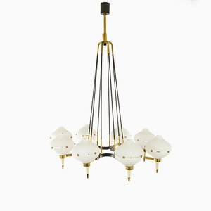 Metal, Brass and Glass Chandelier, 1950s