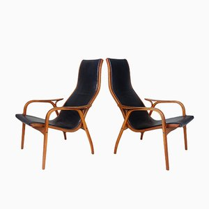 Lamino Easy Chairs in Teak & Leather by Yngve Ekström for Swedese, 1956, Set of 2