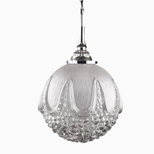 Lampada a sospensione sferica in vetro di Murano, anni '70