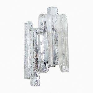 Lámpara de pared vintage de cristal de hielo de Fischer Leuchten, años 70