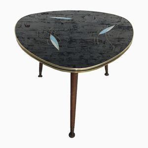 Mid-Century Coffee Table with Triangular Glass Plate & 3 Legs