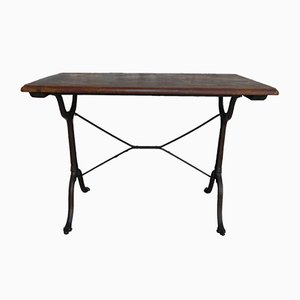 Vintage Bistro Table with Oak Top & Cast Iron Base