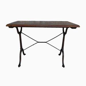 Vintage Bistro Tisch mit Eiche Tischplatte & Fuß aus Gusseisen
