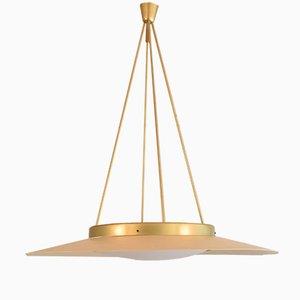 Lampada da soffitto in metallo laccato e ottone, anni '50