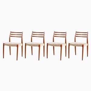 Mid-Century Model 78 Teak Chair by Niels Otto Møller for J.L. Møllers, 1960s, Set of 4