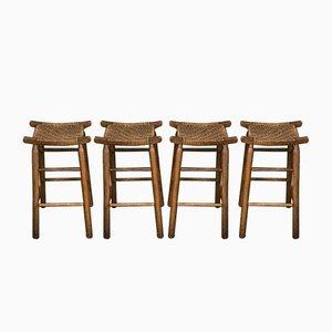 Mid-Century Wood & Plastic Bar Stools, Set of 4