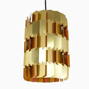 Lampe à Suspension Facettée Orange et Dorée par Louis Weisdorf pour Lyfa, 1970s