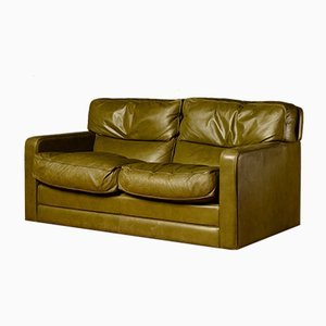 Mid-Century Green Leather 2-Seater Sofa from Poltrona Frau