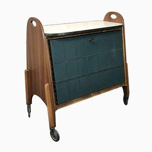 Barwagen aus Kunstleder, Messing & Holz, 1950er