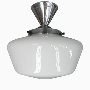 Art Deco Ceiling Lamp with UFO Shaped Glass Shade