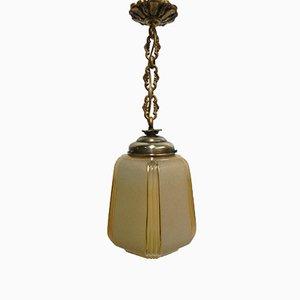 Lámpara colgante Art Déco con cadena y bola de vidrio en beige