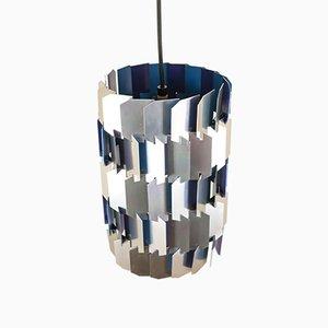 Lámpara colgante facetada en plateado y azul de Louis Weisdorf para Lyfa, años 70
