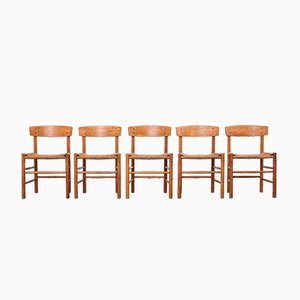 Model J39 Oak Dining Chairs by Børge Mogensen for Fredericia, Set of 5