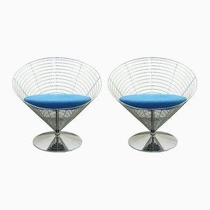 Cone Chairs aus Draht von Verner Panton für Fritz Hansen, 1980er, 2er Set
