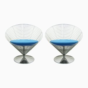 Wire Cone Chairs by Verner Panton for Fritz Hansen, 1980s, Set of 2