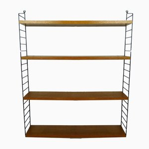 Teak Wall Shelving System by Nisse Strinning for String, 1950s