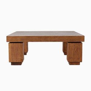 Vintage Square Travertine & Light Oak Coffee Table