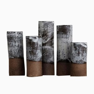 Vases Nature Dolomite Blancs de Kana London, Set de 5