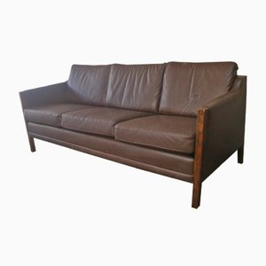 Mid-Century Danish Three-Seater Sofa in Brown Leather, 1970s