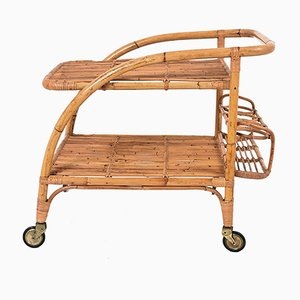 Italian Bamboo Serving Cart by Vittorio Bonacina, 1950s