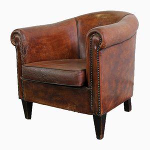 Sheepskin Leather Cognac Club Chair, 1950s