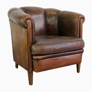 Leather Club Chair with Scalloped Back, 1940s