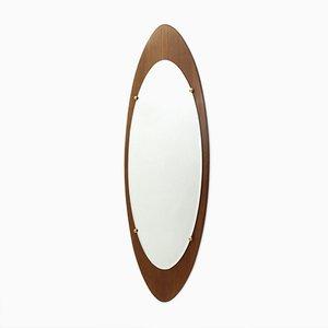 Italian Oval Teak Frame Mirror, 1960s