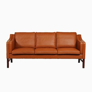 Dänisches 3-Sitzer Sofa aus kastanienbraunem Leder von Skipper, 1980er