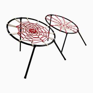 Plan O Stühle mit Spinnweben Sitzen von Hoffer, 1958, 2er Set