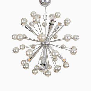 Lámpara de araña Sputnik italiana era espacial cromada, años 60