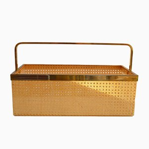 Hollywood Regency Plexiglas and Rattan Magazine Basket from Cavinato Ulderico, 1970s