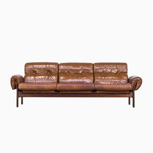Cognac Leather and Rosewood Sofa by Arne Norell, 1970s