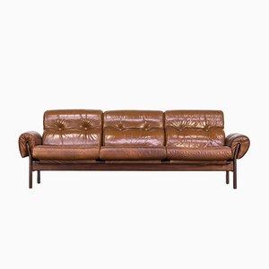 Cognacfarbenes Sofa aus Leder und Palisander von Arne Norell, 1970er