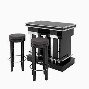 Bar et Tabourets Art Déco avec Laque à Piano