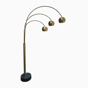 Italian Gilt Metal Brass Floor Lamp with Three Arms and Lights, 1970s