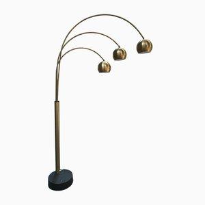 Italienische Stehlampe aus vergoldetem Messing mit 3 Armen & Leuchten, 1970er