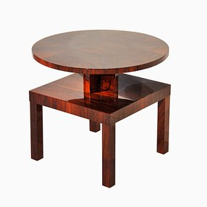 Art Deco Mahogany & Walnut Side Table, 1930s
