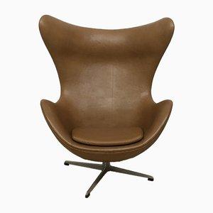Egg Chair aus Leder von Arne Jacobsen für Fritz Hansen, 1964