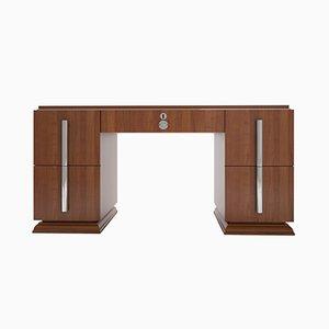 Art Deco Schreibtisch aus Nussholz & Chrom