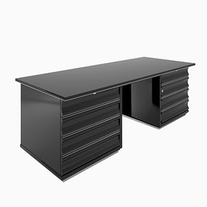 Art Deco Black Desk with Red Drawers