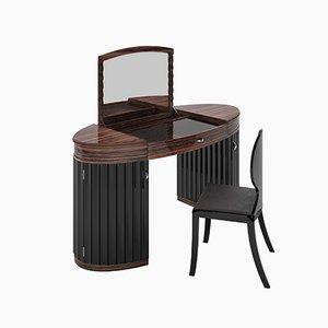 Coiffeuse et Chaise Art Déco en Macassar