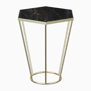 SEI Brass-Plated Side Table with Black Marble by Alex Baser for MIIST