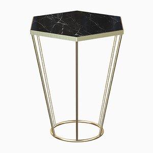 Tavolino SEI placcato in ottone con ripiano in marmo nero di Alex Baser per MIIST